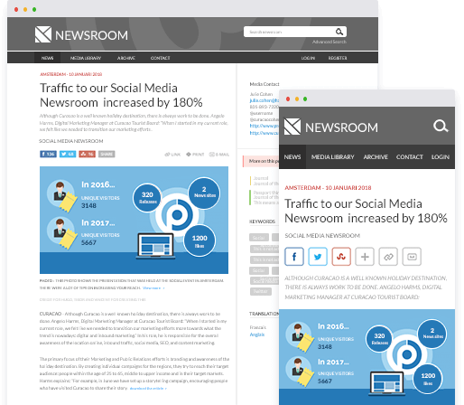 Example of PressPage newsroom on desktop and mobile